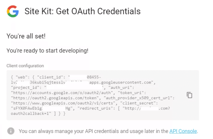 Site Kit - Get OAuth Credentials